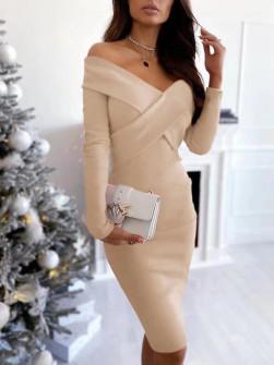 Εντυπωσιακό φόρεμα 5450 μπεζ