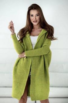 Γυναικεία ζακέτα με κουκούλα 88072 πράσινη