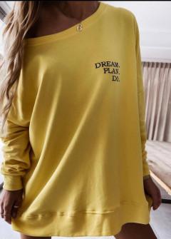 Γυναικείο χαλαρό μπλουζοφόρεμα 4471 κίτρινο
