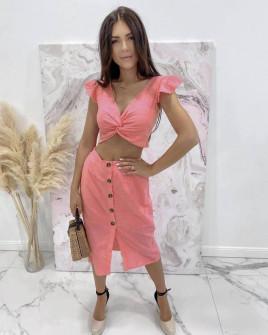 Γυναικείο σετ φούστα και τοπάκι 21227 κοραλί