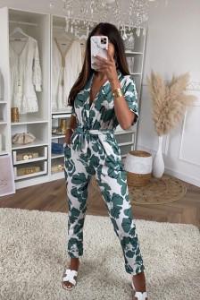 Γυναικείο ολόσωμη φόρμα με print 2460 πράσινη