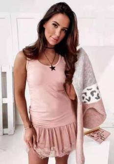 Γυναικείο φόρεμα με δαντέλα 3506 ροζ