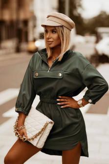 Γυναικείο δερμάτινο μπλουζοφόρεμα 5986 σκούρο πράσινο