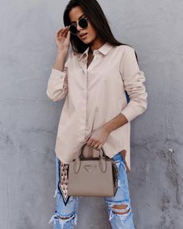 Γυναικείο βαμβακερό πουκάμισο 5551 μπεζ