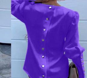 Γυναικείο πουκάμισο με χρυσά κουμπιά 382001 μωβ σκούρο