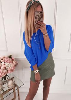 Γυναικεία πλεκτή μπλούζα 4440 μπλε ρουά