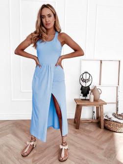 Γυναικείο φόρεμα με σκίσιμο 8215 γαλάζιο