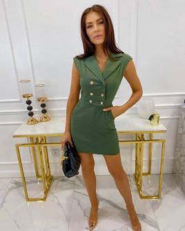 Γυναικείο φόρεμα με κουμπιά από τις δύο πλευρές 3671 χακί