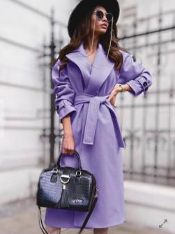 Γυναικείο παλτό με φόδρα και ζώνη 5979 λιλά