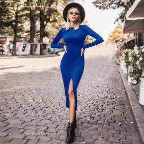 Γυναικείο εφαρμοστό φόρεμα μίντι 5512 μπλε