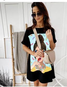 Γυναικείο μπλουζοφόρεμα με στάμπα 215601