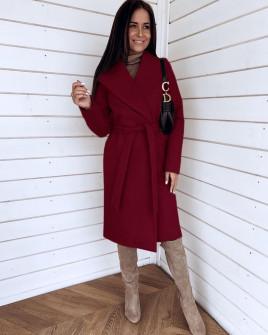 Γυναικείο μακρύ παλτό 3821 μπορντό