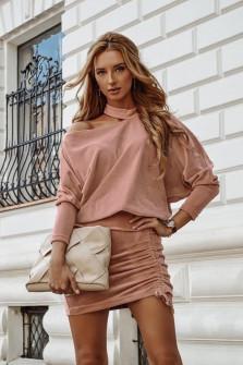 Γυναικείο σετ φούστα και μπλούζα 3495 ροζ