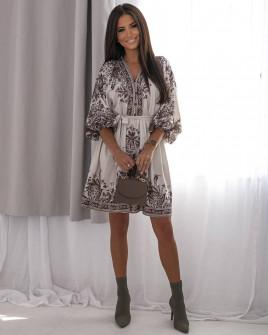 Γυναικείο φόρεμα με print 56019 μπεζ