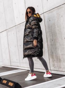 Γυναικείο μακρύ μπουφάν MF05 μαύρο/κίτρινο