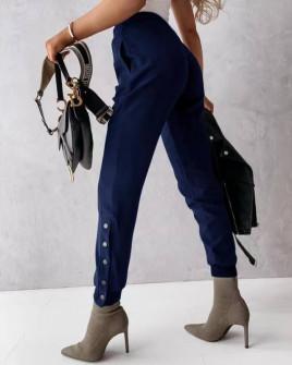 Γυναικείο παντελόνι με κουπιά στο πόδι 5954 σκούρο μπλε