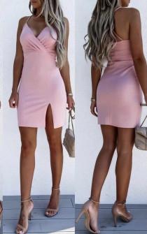 Γυναικείο εφαρμοστό φόρεμα με εντυπωσιακή πλάτη 5852 ροζ