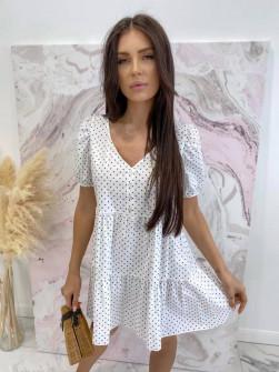 Γυναικείο φόρεμα πουά 21226 άσπρο