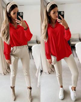Γυναικείο μακρύ πουκάμισο 5549 κόκκινο