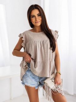 Γυναικεία χαλαρή μπλούζα 9478 μπεζ