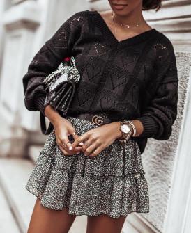 Γυναικείο πουλόβερ καρδιές 2038 μαύρο