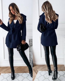 Γυναικείο παλτό με ζώνη 5290 σκούρο μπλε