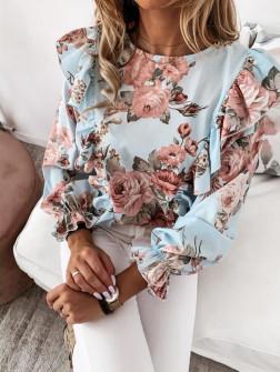 Дамска блуза на цветя 8570 светло синя