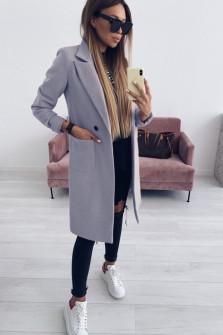 Γυναικείο παλτό με τσέπες και φόδρα 3781 γκρι