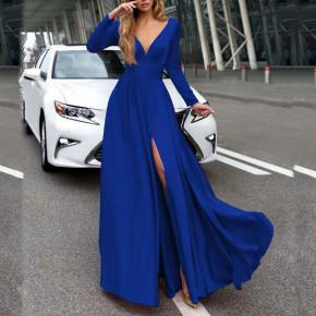 Γυναικείο μακρύ φόρεμα 37421 μπλε