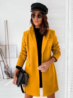 Γυναικείο εντυπωσιακό παλτό με φόδρα 20378 μουσταρδί