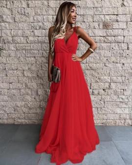 Γυναικείο μακρύ φόρεμα με τούλι 2016 κόκκινο