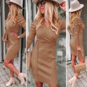 Γυναικείο φόρεμα με ζώνη 6046 καμηλό