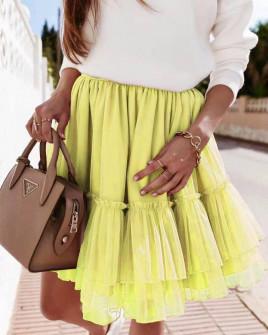 Γυναικεία φούστα τούλι 3574 κίτρινη