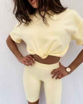 Γυναικείο σετ με επιγραφή 13345 κίτρινο