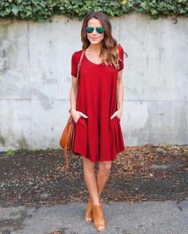 Дамска свободна рокля 13520 червена