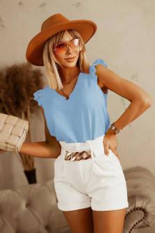 Γυναικεία μπλούζα με κορδόνι στην πλάτη 5650 γαλάζια
