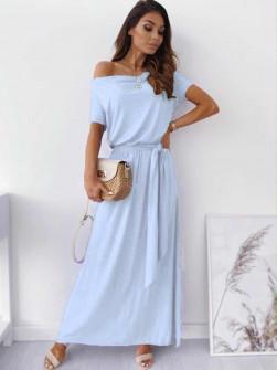 Γυναικείο μακρύ φόρεμα με ζώνη στη μέση 0711 γαλάζιο
