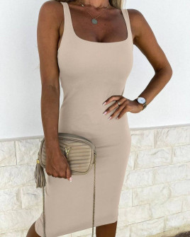 Γυναικείο εφαρμοστό φόρεμα 3333 μπεζ