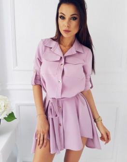 Γυναικείο χαλαρό φόρεμα με ζώνη 2973 ροζ