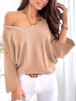 Γυναικεία χαλαρή μπλούζα 00702 μπεζ