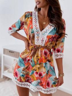 Γυναικείο μακρύ φόρεμα με δαντέλα 565302
