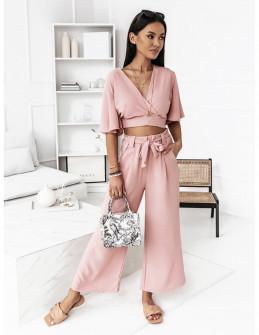 Γυναικείο σετ μπλούζα και παντελόνι 5751 ροζ