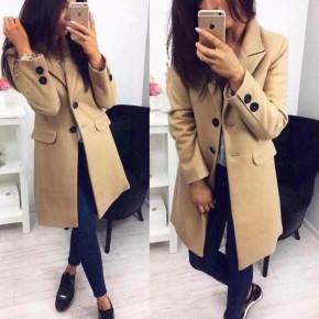 Γυναικείο στιλάτο παλτό 19688 μπεζ