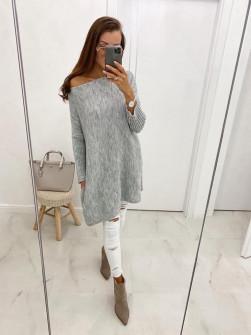 Γυναικείο πλεκτό μπλουζοφόρεμα 8052 γκρι