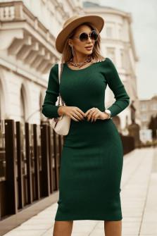 Εφαρμοστό μίντι φόρεμα 5395 πράσινο