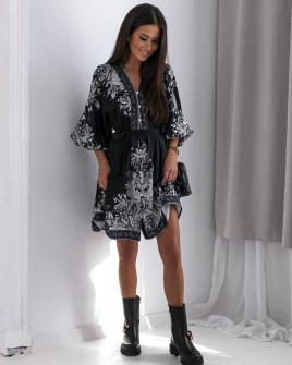 Гυναικείο φόρεμα με print 56019 μαύρο