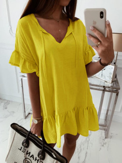 Γυναικείο χαλαρό μπλουζοφόρεμα 5110 κίτρινο