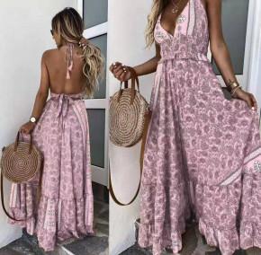 Γυναικείο μακρύ φόρεμα με σχέδια 500311