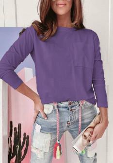 ΜπλούζαΓυναικεία απλή μπλούζα 51037 μωβ