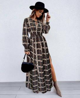 Γυναικείο μακρύ φόρεμα καρό 55932 μαύρο